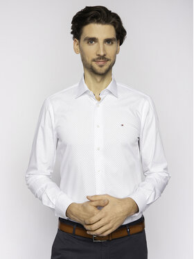 Tommy Hilfiger Tailored Tommy Hilfiger Tailored Cămașă Poplin Dot Classic TT0TT06463 Alb Regular Fit