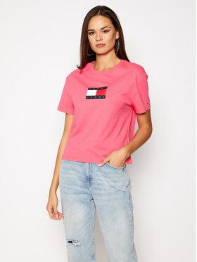 Tommy Jeans Tommy Jeans Marškinėliai Tommy Flag Tee DW0DW08471 Rožinė Regular Fit