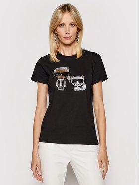 KARL LAGERFELD KARL LAGERFELD T-shirt Ikonik Rhinestone 210W1725 Crna Regular Fit