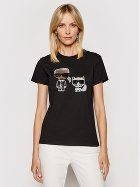KARL LAGERFELD KARL LAGERFELD T-Shirt Ikonik Rhinestone 210W1725 Schwarz Regular Fit