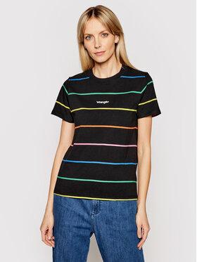 Wrangler Wrangler T-shirt High Rib W7N9GHZ01 Crna Regular Fit