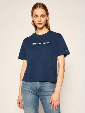 Tommy Jeans Tommy Jeans Marškinėliai Modern Linear Logo DW0DW08615 Tamsiai mėlyna Relaxed Fit