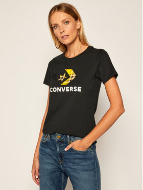 Converse Converse Marškinėliai Star Chevron Plaid Infill 10020874 Juoda Regular Fit