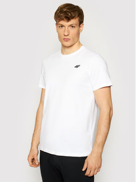 4F 4F T-Shirt NOSH4-TSM003 Biały Regular Fit