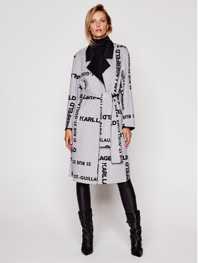 KARL LAGERFELD KARL LAGERFELD Преходно палто Printed Double Faced 206W1504 Черен Regular Fit