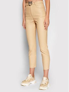 Pinko Pinko Kalhoty z imitace kůže Susan AI 21-22 BLK01 1G16WU 7105 Béžová Skinny Fit