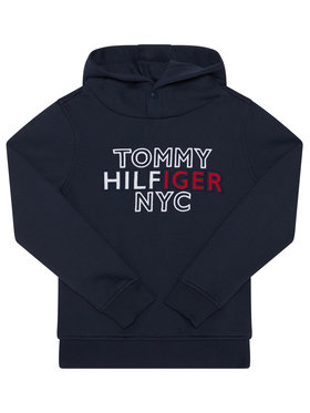 TOMMY HILFIGER TOMMY HILFIGER Džemperis Th Nyc Graphic Hoodie KB0KB05808 D Tamsiai mėlyna Regular Fit