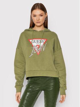 Guess Guess Bluza Icon W1BQ09 K68I1 Zielony Boxy Fit