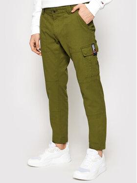 Tommy Jeans Tommy Jeans Spodnie materiałowe Scanton Dobby Cargo DM0DM11281 Zielony Slim Fit
