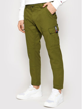 Tommy Jeans Tommy Jeans Текстилни панталони Scanton Dobby Cargo DM0DM11281 Зелен Slim Fit