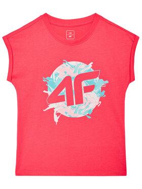 4F 4F T-Shirt JTSD012 Różowy Regular Fit