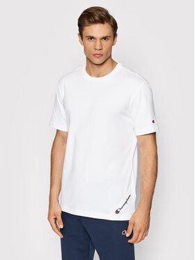 Champion Champion T-Shirt Asymmetric Script Logo 216553 Biały Comfort Fit