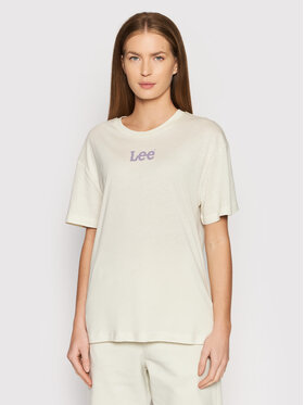 Lee Lee T-Shirt Crew L43PBYTW Beżowy Relaxed Fit