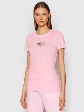 Tommy Jeans Tommy Jeans T-Shirt Essential Logo DW0DW11239 Różowy Skinny Fit