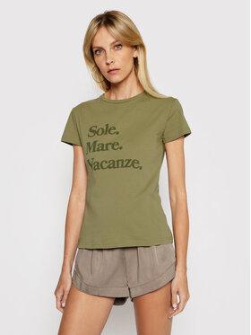 Drivemebikini Drivemebikini T-shirt Sole Mare Vacanze 2021-DRV-004_KH Verde Slim Fit