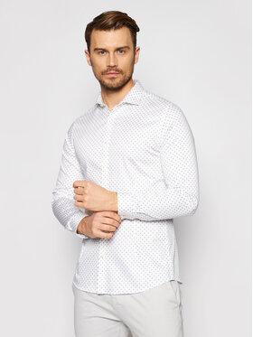 Jack&Jones Jack&Jones Marškiniai Blaparma Geo 12184802 Balta Super Slim Fit