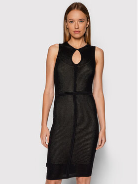 Pinko Pinko Úpletové šaty Recioto AI 21-22 BLK01 1G167V Y77K Černá Regular Fit
