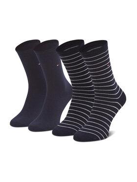 Tommy Hilfiger Tommy Hilfiger Sada 2 párů dámských vysokých ponožek 100001494 Tmavomodrá