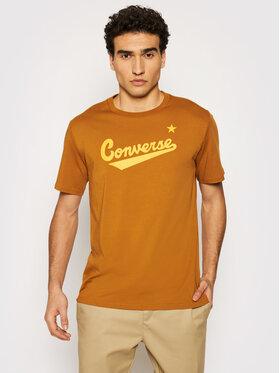 Converse Converse T-Shirt Center Front Logo 10018235-A31 Brązowy Regular Fit