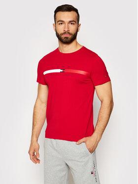 Tommy Hilfiger Tommy Hilfiger Marškinėliai Global Stripe Chest MW0MW16572 Raudona Regular Fit