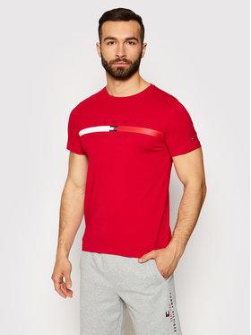 Tommy Hilfiger Tommy Hilfiger T-Shirt Global Stripe Chest MW0MW16572 Červená Regular Fit