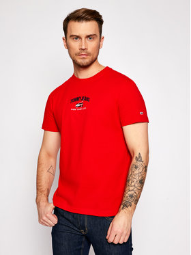 Tommy Jeans Tommy Jeans Marškinėliai Timeless Script Tee DM0DM10620 Raudona Regular Fit