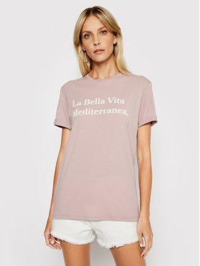 Drivemebikini Drivemebikini Marškinėliai Unisex La Bella Vita 2021-DRV-001_LA Rožinė Relaxed Fit