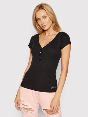 Guess Guess Bluse Henley W0GI62 R9I50 Schwarz Slim Fit