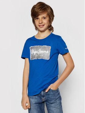 Pepe Jeans Pepe Jeans T-Shirt Jacob PB503145 Niebieski Regular Fit