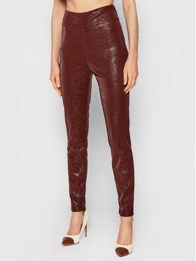 Guess Guess Панталони от имитация на кожа Priscilla W1BB08 WE5V0 Кафяв Extra Slim Fit