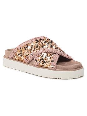 Mou Mou Klapki Criss-Cross Bio Sandal Plain SW251003G Różowy