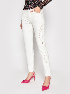 Guess Guess Blugi Embroidery W1GAJ3 D4CO4 Alb Skinny Fit