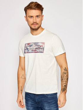 Pepe Jeans Pepe Jeans Tricou Almos PM507446 Alb Regular Fit