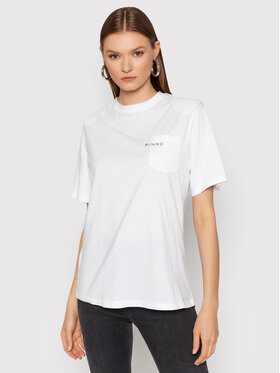 Pinko Pinko T-Shirt Tianamen AL 21-22 BLK01 1G16FK Y79R Biały Regular Fit