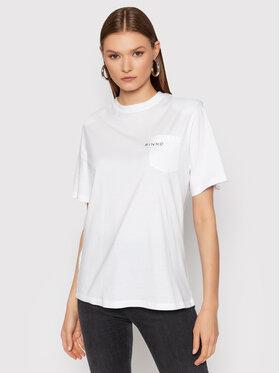 Pinko Pinko T-Shirt Tianamen AL 21-22 BLK01 1G16FK Y79R Bílá Regular Fit