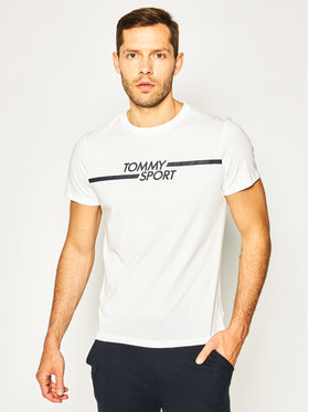 Tommy Sport Tommy Sport Marškinėliai Core Chest Graphic S20S200444 Balta Regular Fit