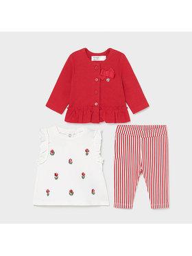 Mayoral Mayoral Komplet bluzka, sukienka i legginsy 1795 Czerwony Regular Fit