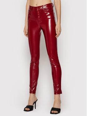 Guess Guess Dirbtinės odos kelnės 1981 W1YA28 WE0X0 Bordinė Skinny Fit