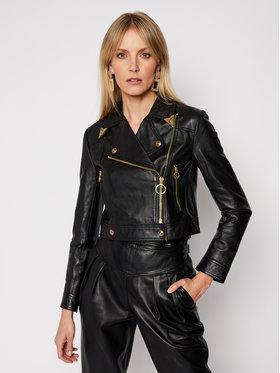 Versace Jeans Couture Versace Jeans Couture Kurtka skórzana ECHWA90P Czarny Regular Fit