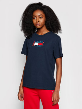 Tommy Jeans Tommy Jeans Marškinėliai Timeless Flag DW0DW09924 Tamsiai mėlyna Relaxed Fit