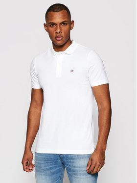 Tommy Jeans Tommy Jeans Тениска с яка и копчета Classics Solid DM0DM09439 Бял Slim Fit