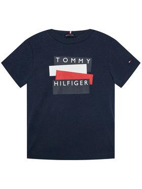 TOMMY HILFIGER TOMMY HILFIGER Marškinėliai Sticker Tee S/S KB0KB05849 D Tamsiai mėlyna Regular Fit