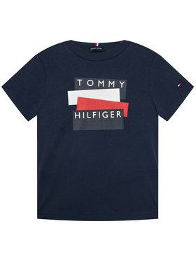 TOMMY HILFIGER TOMMY HILFIGER T-Shirt Sticker Tee S/S KB0KB05849 D Tmavomodrá Regular Fit