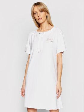 EA7 Emporio Armani EA7 Emporio Armani Džemper haljina 3KTA55 TJ9RZ 1100 Bijela Regular Fit