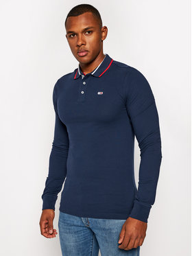 Tommy Jeans Tommy Jeans Тениска с яка и копчета Tjm Stretch DM0DM09442 Тъмносин Slim Fit