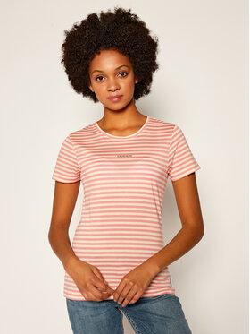 Calvin Klein Calvin Klein T-Shirt Logo Stripe Ss K20K202147 Różowy Slim Fit