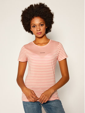 Calvin Klein Calvin Klein Tricou Logo Stripe Ss K20K202147 Roz Slim Fit