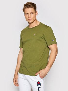 Champion Champion T-Shirt Small C Logo 214674 Zielony Comfort Fit