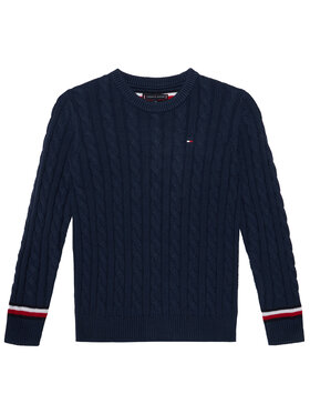Tommy Hilfiger Tommy Hilfiger Pull Essential Cable KB0KB06082 D Bleu marine Regular Fit