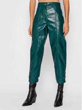 TWINSET TWINSET Nohavice z imitácie kože 212TT2051 Zelená Regular Fit